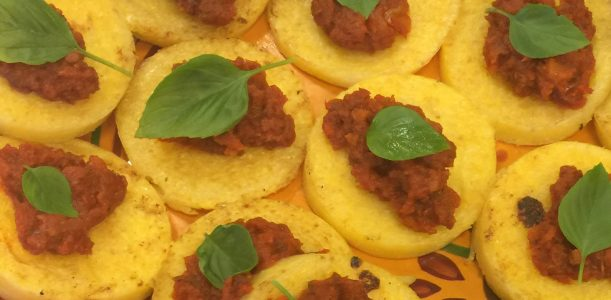 Fried Polenta with Sun-dried Tomatoes & Basil